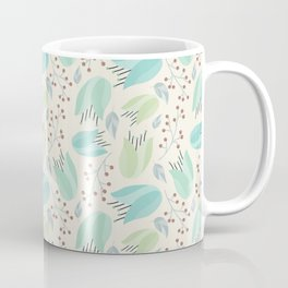 Ivory mint teal modern floral berries illustration Coffee Mug