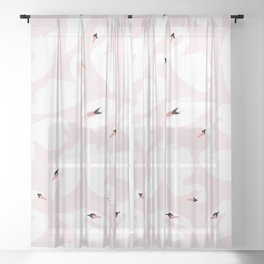 Swan Pattern on Pink 030 Sheer Curtain