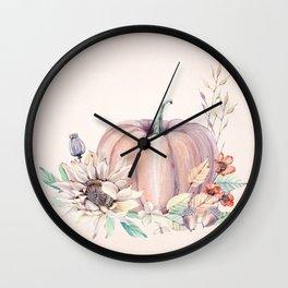 Autumn Pumpkin Cream Wall Clock