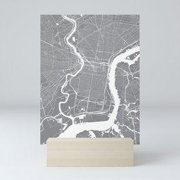 Philadelphia, PA, City Map - Grey Mini Art Print