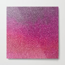 Modern pink purple ombre faux glitter color block Metal Print