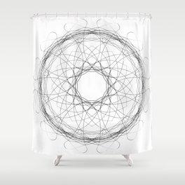 Black spirograph mandala of blessing Shower Curtain