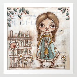 Love Me - Girl and Bunny Doll in the Garden Art Print