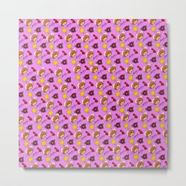 Hammy Pattern in Pink Metal Print