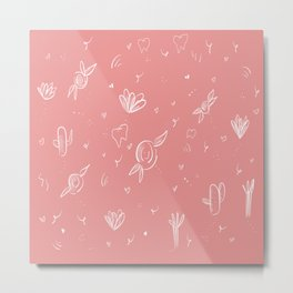 Pink,flowers, cactus and teeth Metal Print