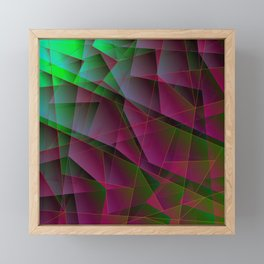 Abstract dark pattern of lilac and overlapping green triangles and irregularly shaped lines. Framed Mini Art Print