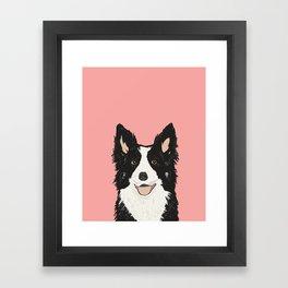 Border Collie pet portrait pink background dog lover art gifts Framed Art Print
