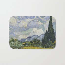 Wheatfield with Cypresses Bath Mat