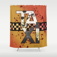 taxi driver Shower Curtains featuring TAXI by Alberto Lorenzo