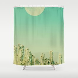 Moon over Cacti Shower Curtain