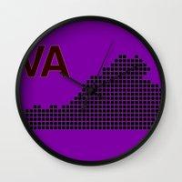 virginia Wall Clocks featuring Virginia by Hum Chee