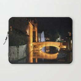 beautiful bridge at night time in bruges Laptop Sleeve