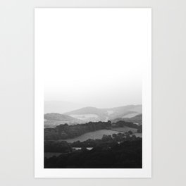 Hill Mist - Black and White Collection Art Print
