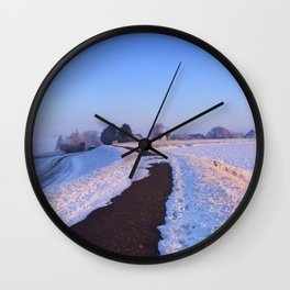II - Lake and dike at sunrise in winter in The Netherlands Wall Clock
