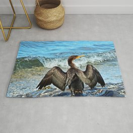 Cormorant Dries off in front of the Sea Rug