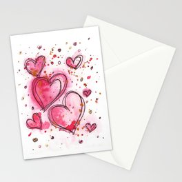 Pink Hearts For You Stationery Cards