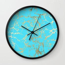 Modern aqua elegant faux gold foil marble pattern Wall Clock