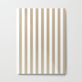 Narrow Vertical Stripes - White and Khaki Brown Metal Print