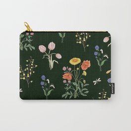 VINTAGE STYLE COLORFUL SUMMER BOUQUETS AND INSECTS Carry-All Pouch