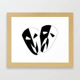 Black and White Stage Masks Framed Art Print