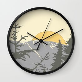 Ski Mountain Sun and Trees - Breckenridge  Wall Clock