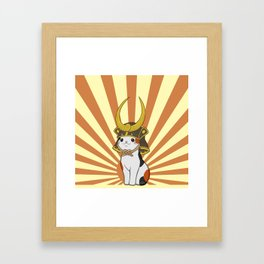 Japanese Bobtail Cat Wears Samurai Hat Framed Art Print