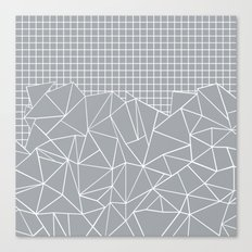 Abstract Outline Grid Grey Canvas Print