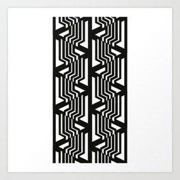 Geometric black and white pattern nordic Art Print