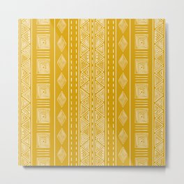 Mustard Yellow Tribal Ethnic Pattern | Sun Illustration | Vertical Stripes Metal Print