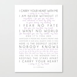 i carry your heart poem by e.e. cummings Canvas Print