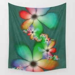Rainbow Flowers Keeping Cool Against a Mint Wall Wall Tapestry