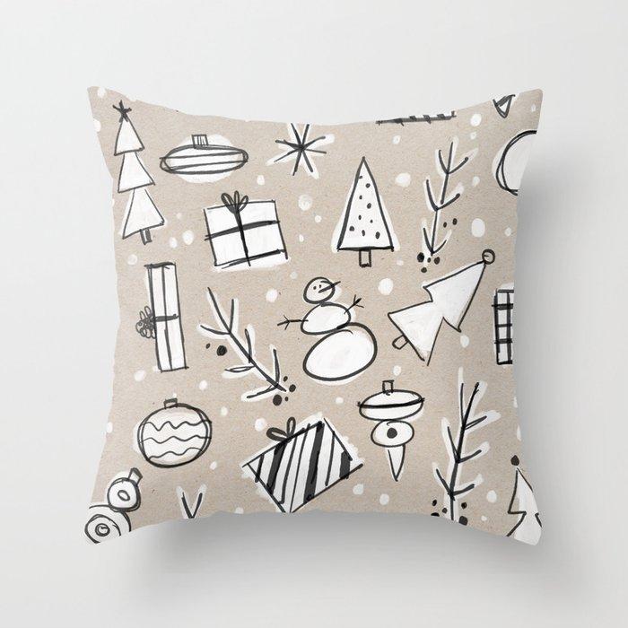 Christmas White and Kraft Sketches Throw Pillow