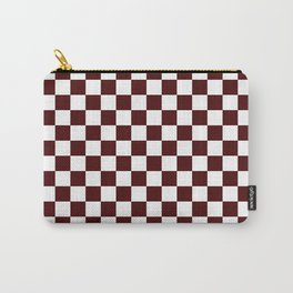 Small Checkered - White and Bulgarian Rose Red Carry-All Pouch