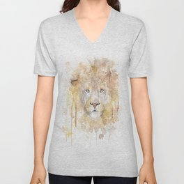 """Watercolor Painting of Picture """"African Lion"""" Unisex V-Neck"""
