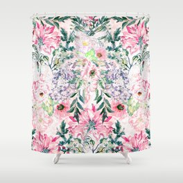 Boho chic watercolor pink floral hand paint Shower Curtain