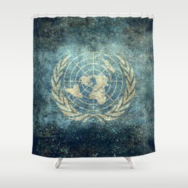 The United Nations Flag - Vintage version Shower Curtain