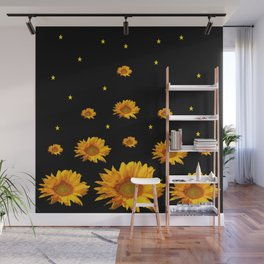 GOLDEN STARS YELLOW SUNFLOWERS  BLACK COLOR Wall Mural
