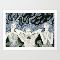 swim Art Prints featuring Swim by Yuliya