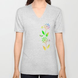 Bees And Flowers Unisex V-Neck