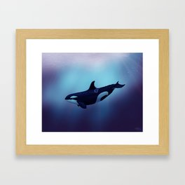 """Lost in Fantasy"" by Amber Marine ~ Orca / Killer Whale Art, (Copyright 2015) Framed Art Print"