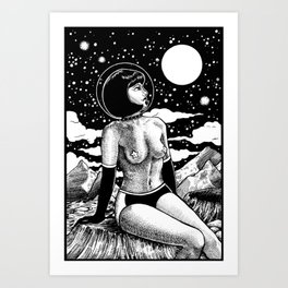 Space Babe Black and White Art Print