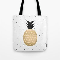 pineapple Tote Bags featuring Pineapple by Elisabeth Fredriksson