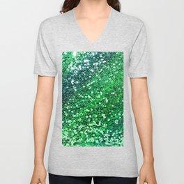 Glitter Sparkling Green Feminine Beautiful Pattern Unisex V-Neck