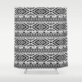 Aztec Geometric Print - Black Shower Curtain