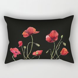 Poppies at Midnight Rectangular Pillow
