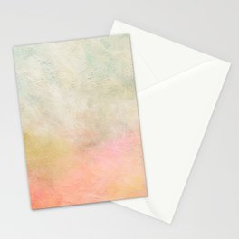 Abstract Seascape Modern Art Painting | Coral, Gold, Mint Green Blush Pastel Stationery Cards