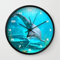 dolphin Wall Clocks featuring Dolphin by Simone Gatterwe