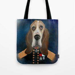 Admiral Tank Basset Hound Oil Painting Tote Bag