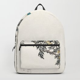 japanese great tit and japanese cypress illustration 42476319445 Backpack
