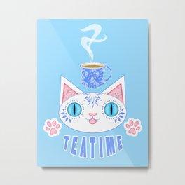 Teatime Cat Loves Tea Metal Print